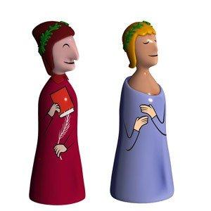 Porcelanowe figurki Dante & Virgilio