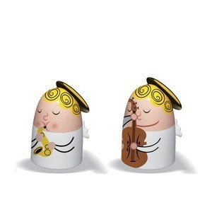 Porcelanowe figurki Angels Band kontrabas i saksofon