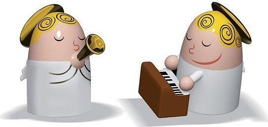 Porcelanowe figurki Angels Band trąbka i pianino