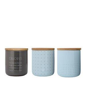 Pojemniki kuchenne Bloomingville szaro-błękitne 3 szt. 12 cm