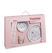 Naczynia dziecięce w zestawie Dots Yummy różowe - małe zdjęcie