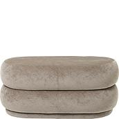 Puf Oval Faded Velvet beżowy