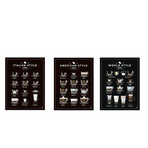Plakat American, World, Italian Style Coffee 3 szt.