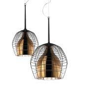 Lampa wisząca Cage Grande brązowy kosz z kasztanowym kloszem - małe zdjęcie