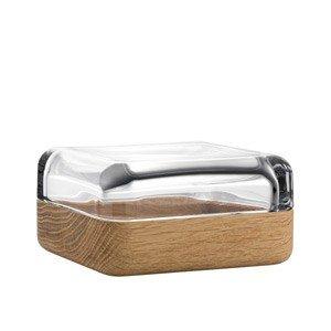 Pojemnik Vitriini szkło i dąb 11 cm przezroczysty
