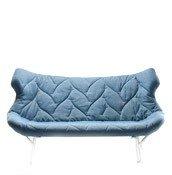 Sofa Foliage biała rama niebieski poliester - małe zdjęcie