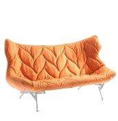 Sofa Foliage biała rama pomarańczowa wełna - małe zdjęcie