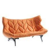Sofa Foliage czarna rama pomarańczowa wełna - małe zdjęcie