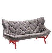 Sofa Foliage czerwona rama szary poliester - małe zdjęcie