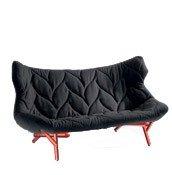 Sofa Foliage czerwona rama czarna wełna - małe zdjęcie