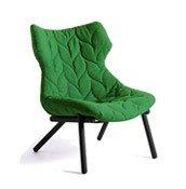 Fotel Foliage czarna rama zielona wełna - małe zdjęcie