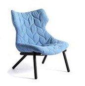 Fotel Foliage czarna rama niebieska wełna - małe zdjęcie