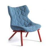 Fotel Foliage czerwona rama niebieska wełna - małe zdjęcie