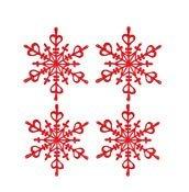 Dekoracja Flakes XS 4 szt. czerwona przezroczysta