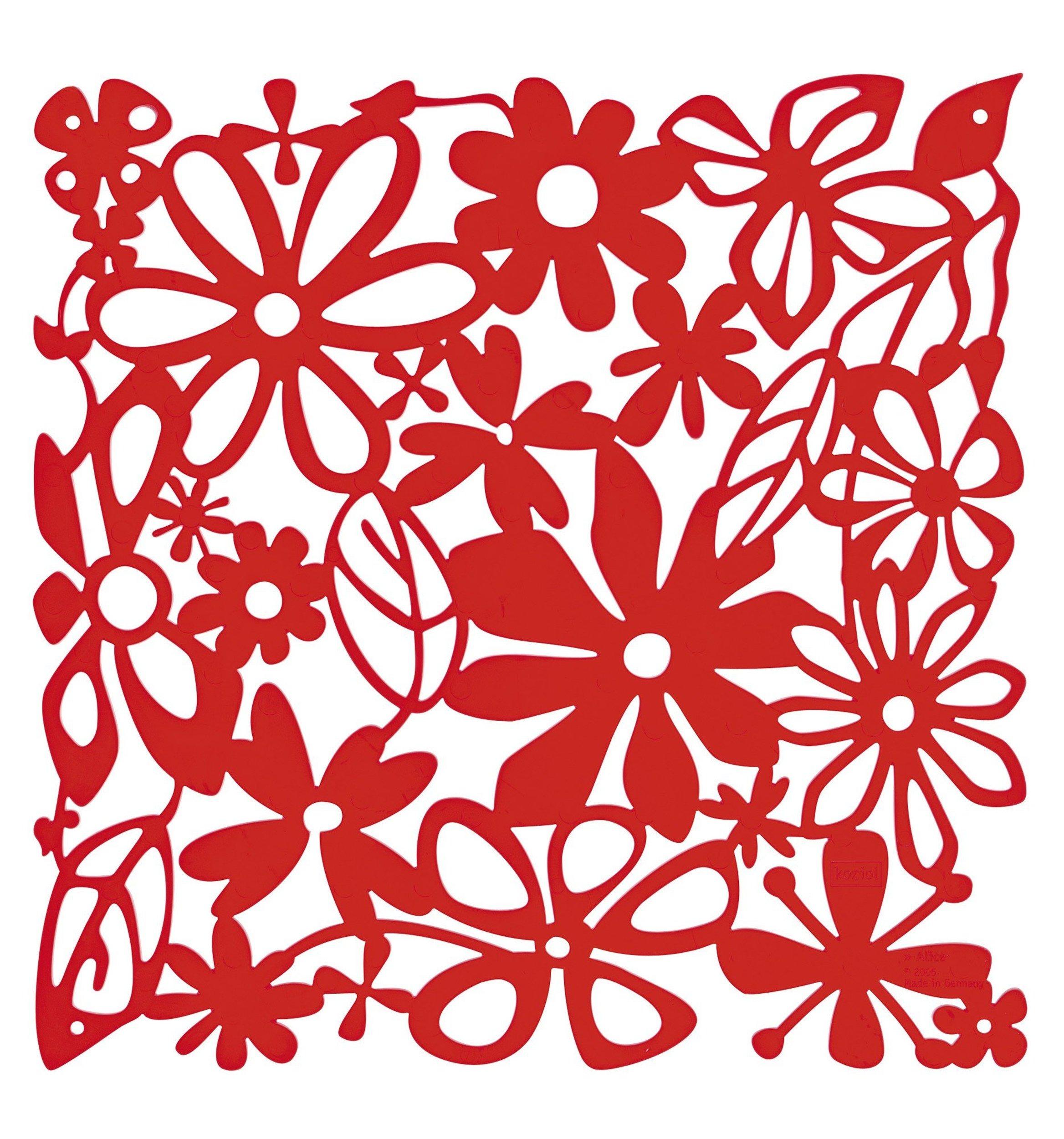 Panel dekoracyjny Alice 4 szt. czerwony transparentny