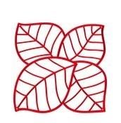 Panel dekoracyjny Leaf 4 szt. czerwony transparentny