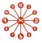 Zegar ścienny Pinball pomarańczowoczerwony - małe zdjęcie