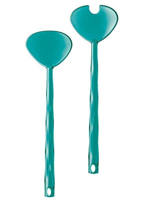 Łyżki do sałatek Crystal niebieskie przezroczyste