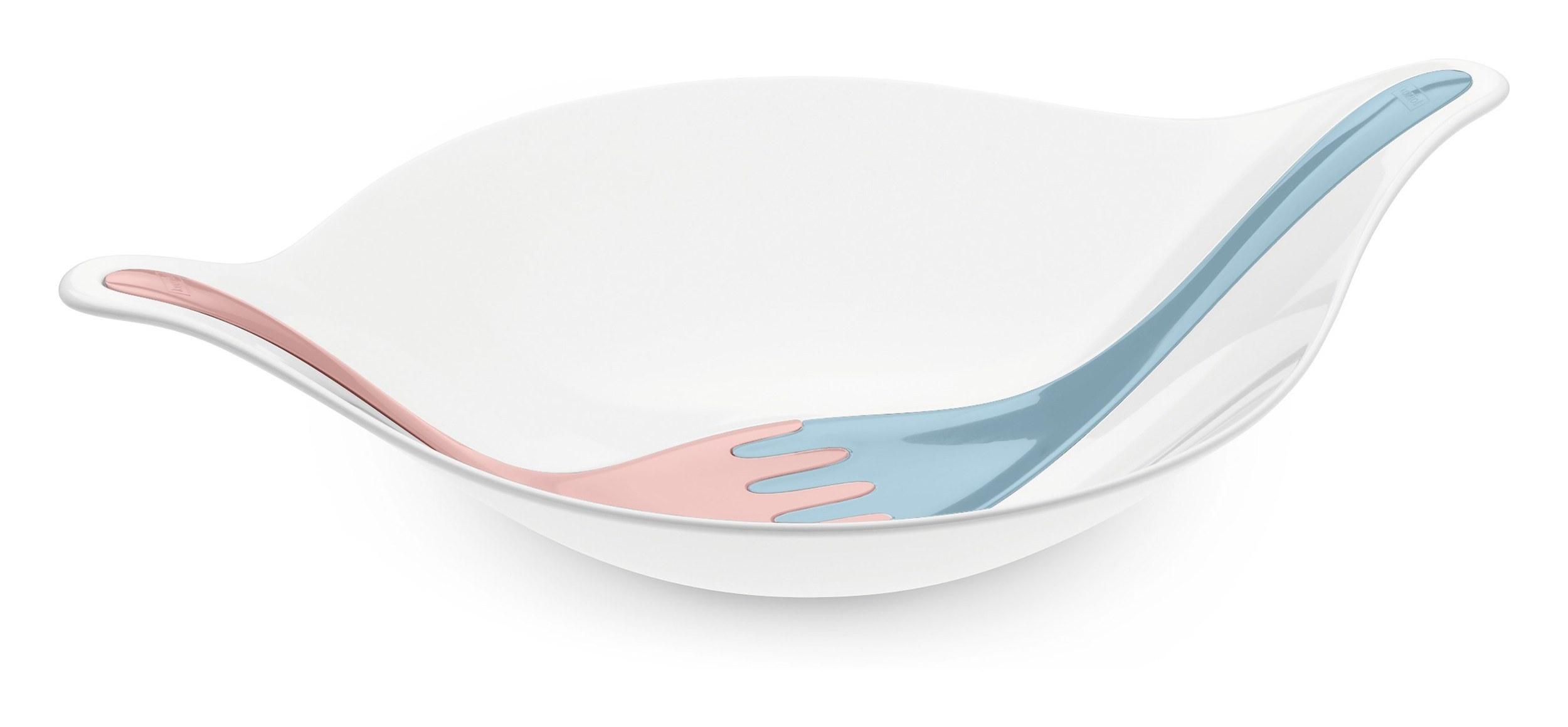 Misa do sałatek Leaf XL biała z pastelowymi łyżkami