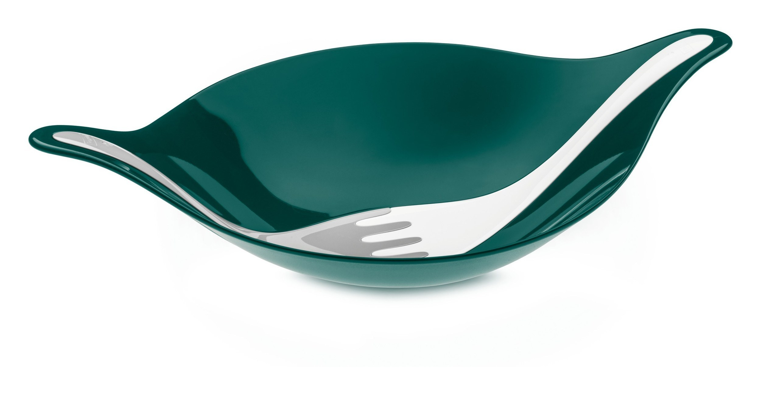 Miska do sałatek Leaf Medium emerald z pastelowymi łyżkami
