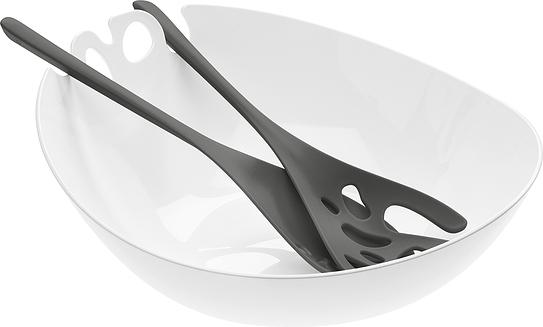 Misa do sałaty z łyżkami Shadow biała z ciemnoszarymi łyżkami