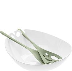 Misa do sałaty z łyżkami Shadow biel i zieleń eukaliptusowa