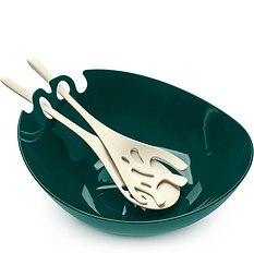 Misa do sałaty z łyżkami Shadow emerald białe łyżki
