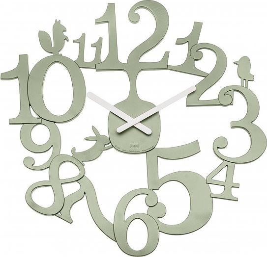 Zegar ścienny Pi:P zieleń eukaliptusowa