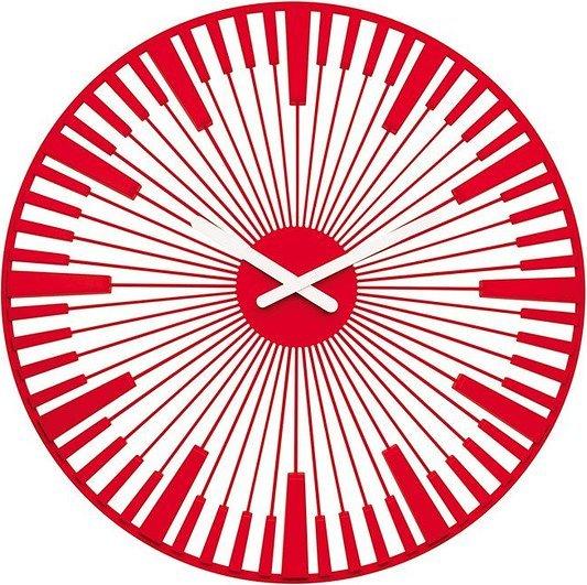 Zegar ścienny Piano czerwony transparentny