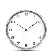 Zegar One stalowy bia�y z cyframi arabskimi