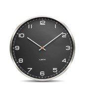 Zegar One stalowy czarny z cyframi arabskimi