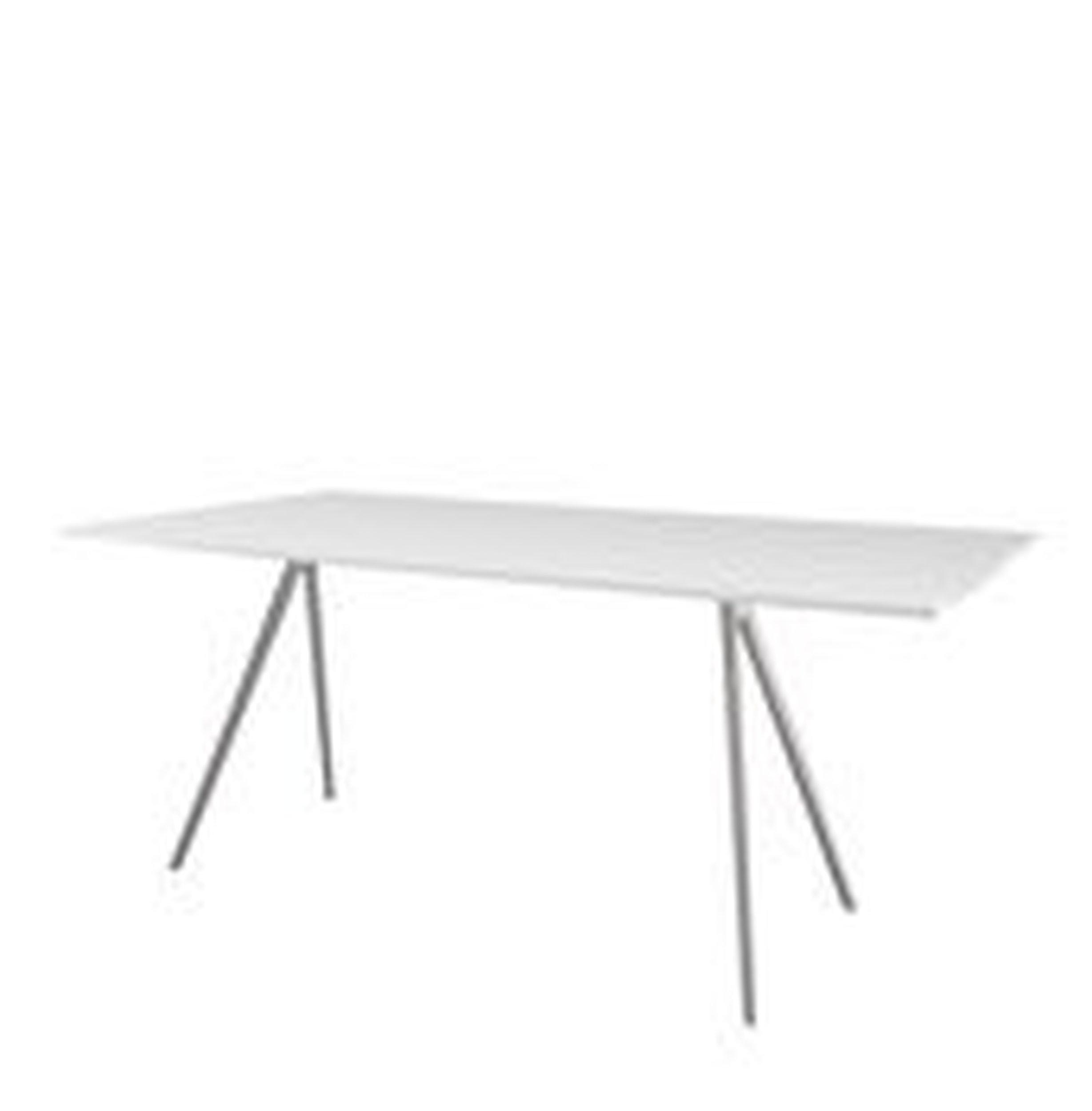 Stół Baguette 160 cm blat MDF biały rama polerowana - małe zdjęcie