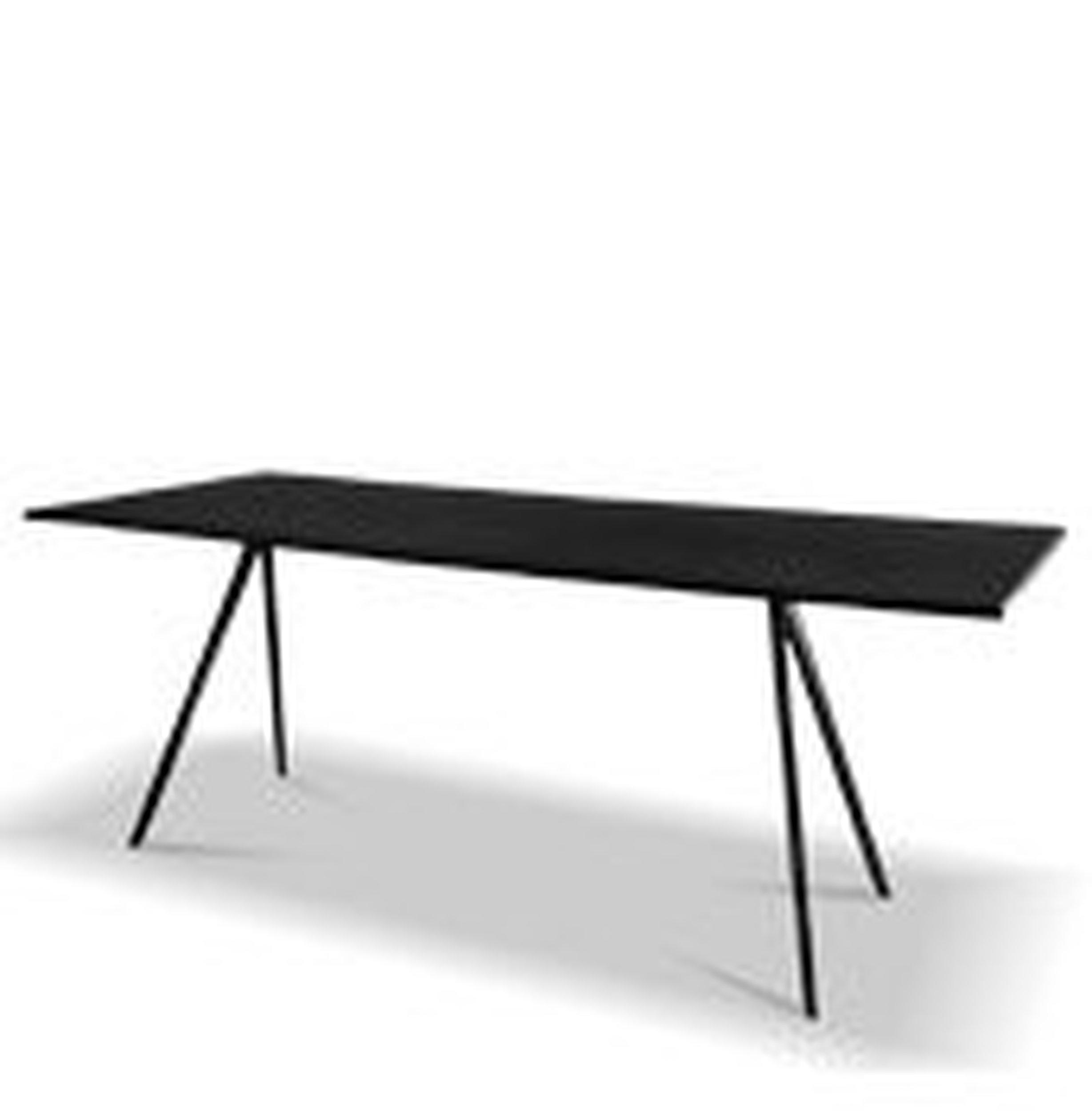 Stół Baguette 205 cm blat MDF czarny rama lakierowana biała - małe zdjęcie