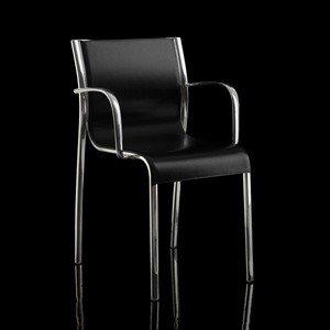 Fotel skórzany Paso Doble czarny rama polerowana