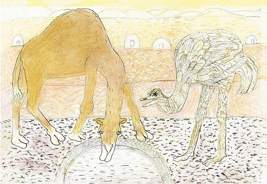 Dekoracja ścienna Moments of Ingenuity The Camel and the Ostrich