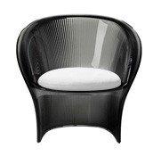 Fotel przezroczysty dymny Flower biały materiał - małe zdjęcie
