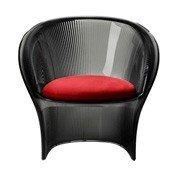 Fotel przezroczysty dymny Flower czerwony materiał - małe zdjęcie