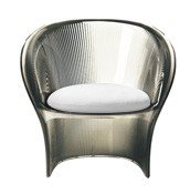 Fotel przezroczysty brązowy Flower biały materiał - małe zdjęcie