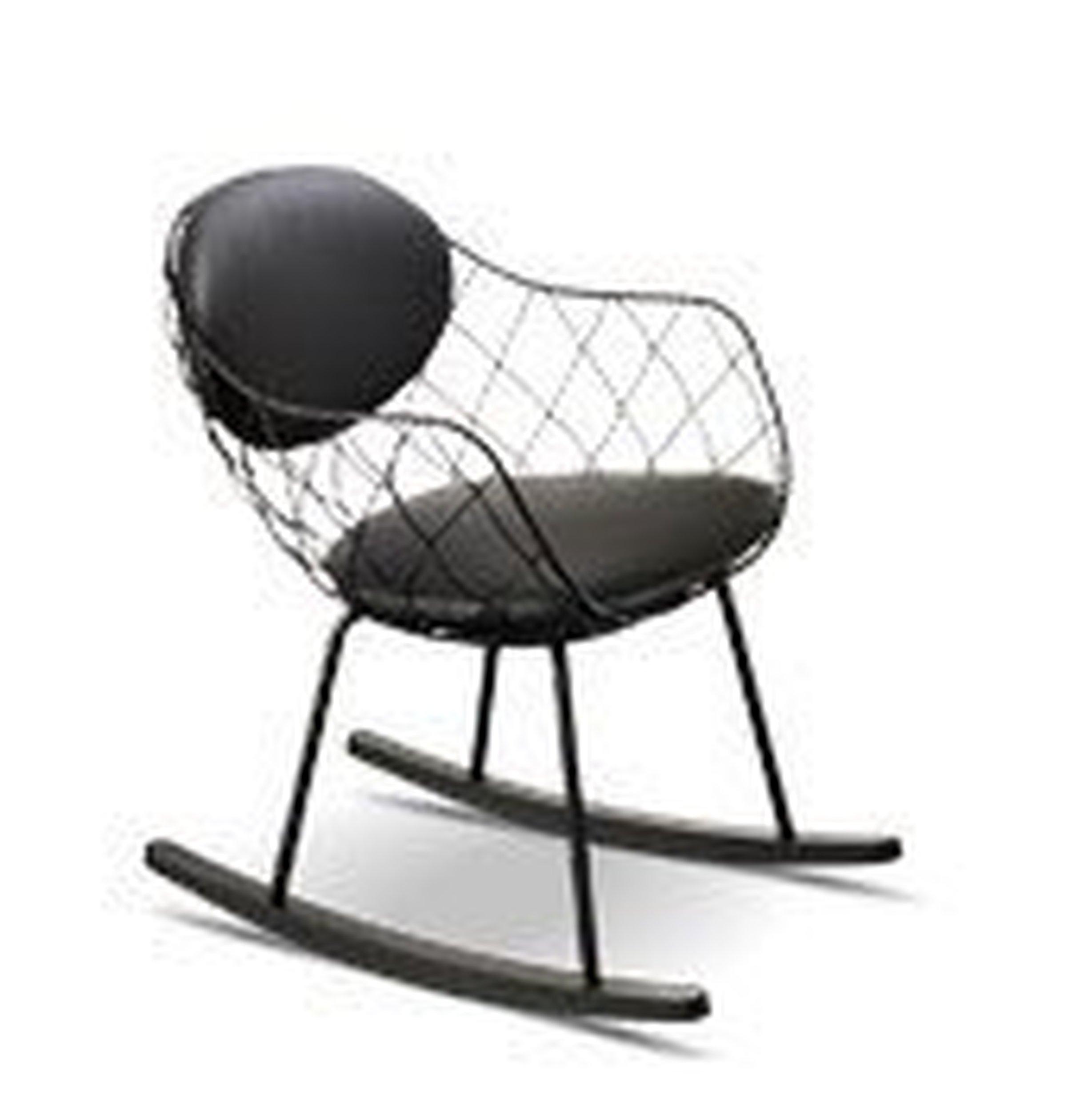 Fotel bujany Pina czarne siedzisko czarne nogi czarny materiał - małe zdjęcie
