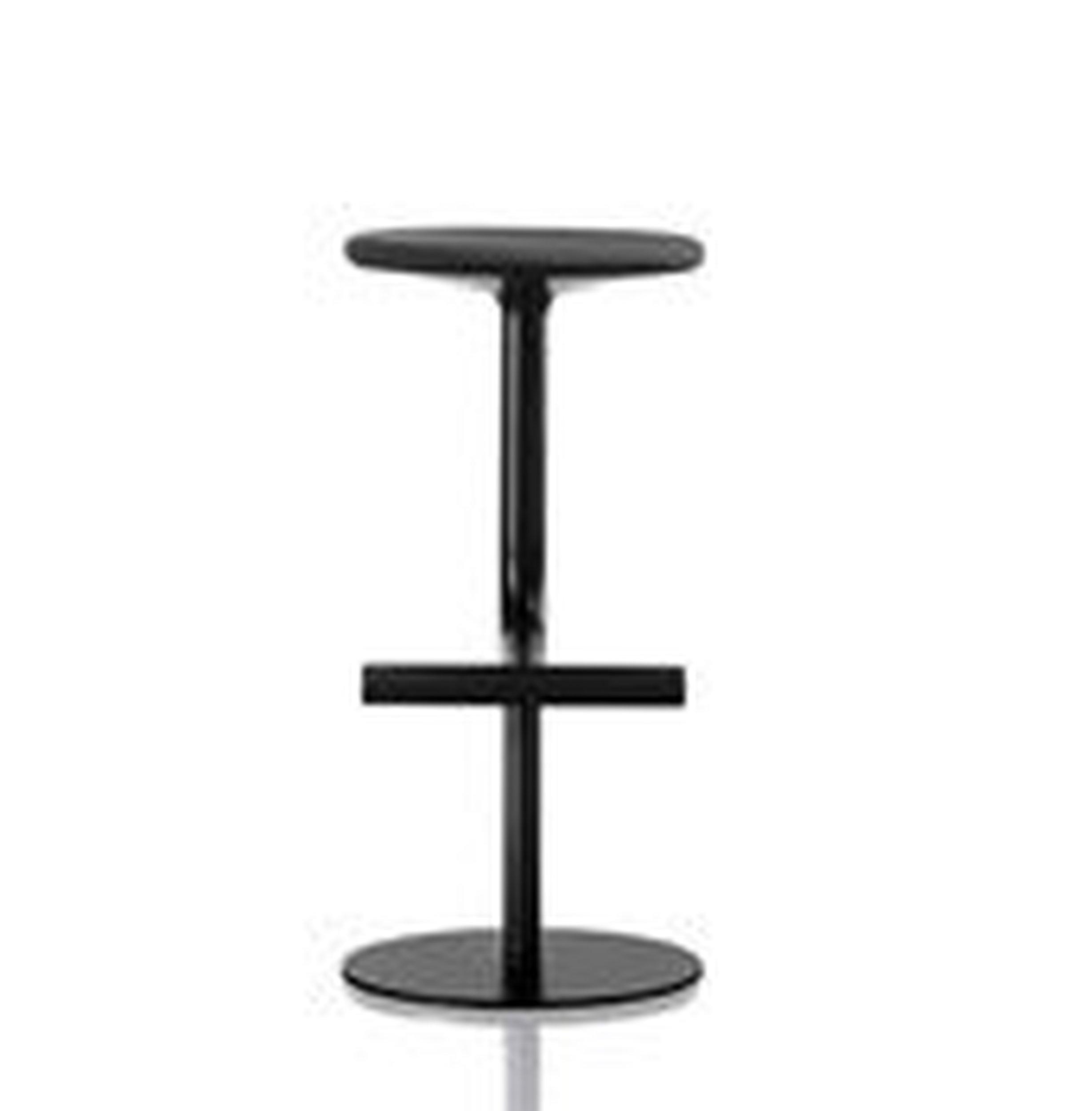 Stołek barowy Tibu 76 cm z czarnym obiciem - małe zdjęcie