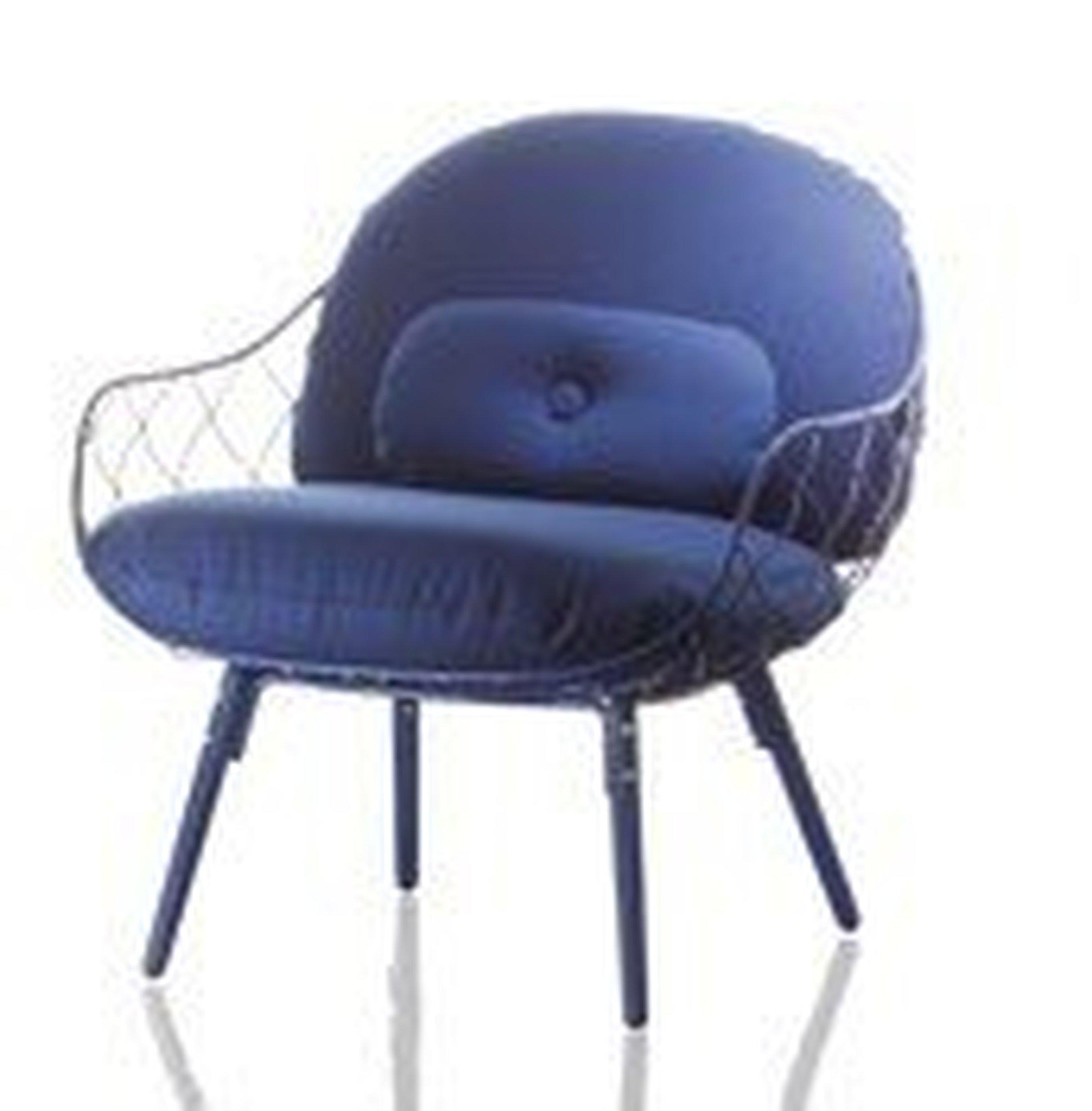 Fotel niski Pina niebieskie rama i siedzisko, niebieskie nogi - małe zdjęcie