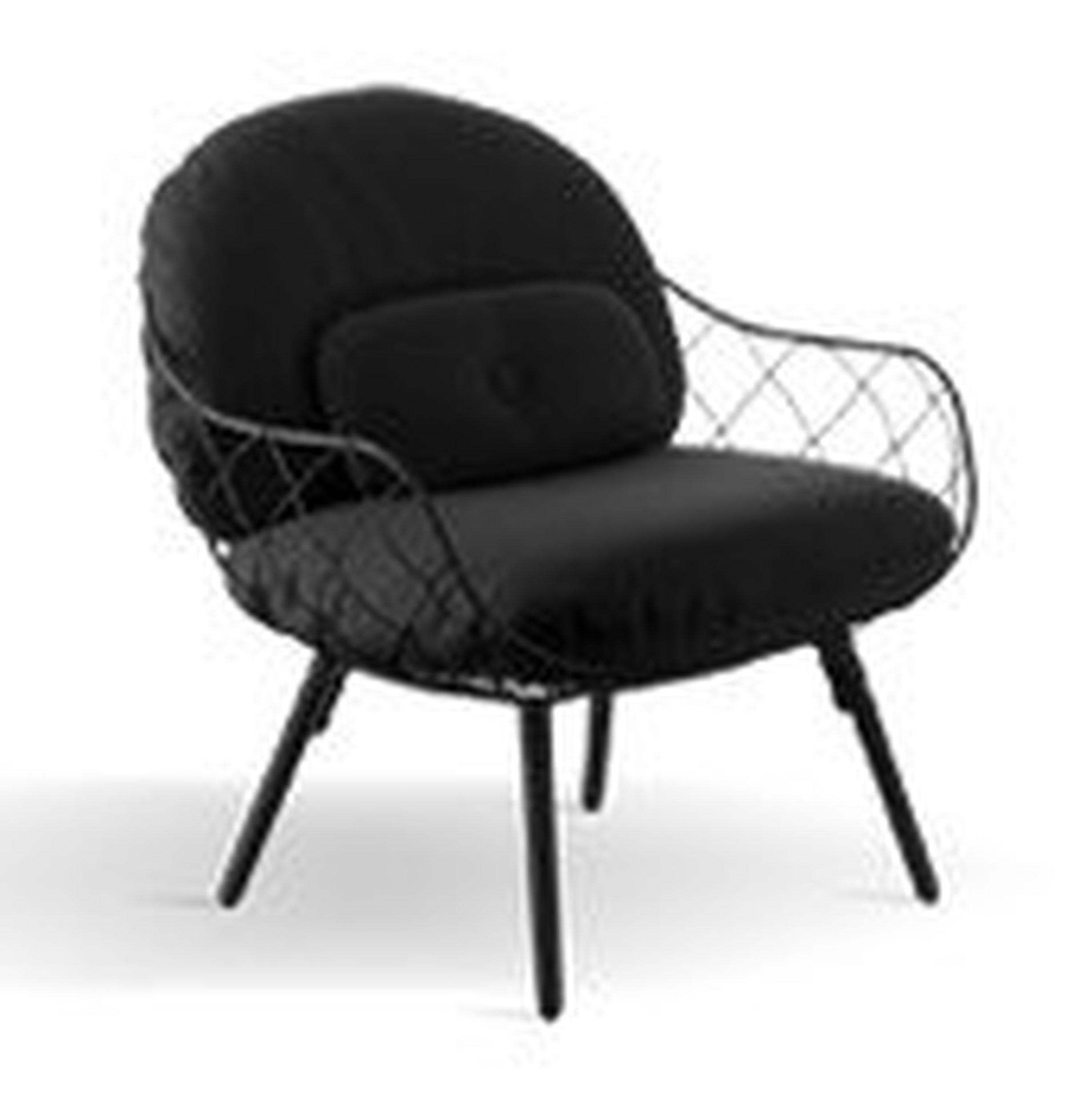 Fotel niski Pina czarne rama i siedzisko, czarne nogi - małe zdjęcie