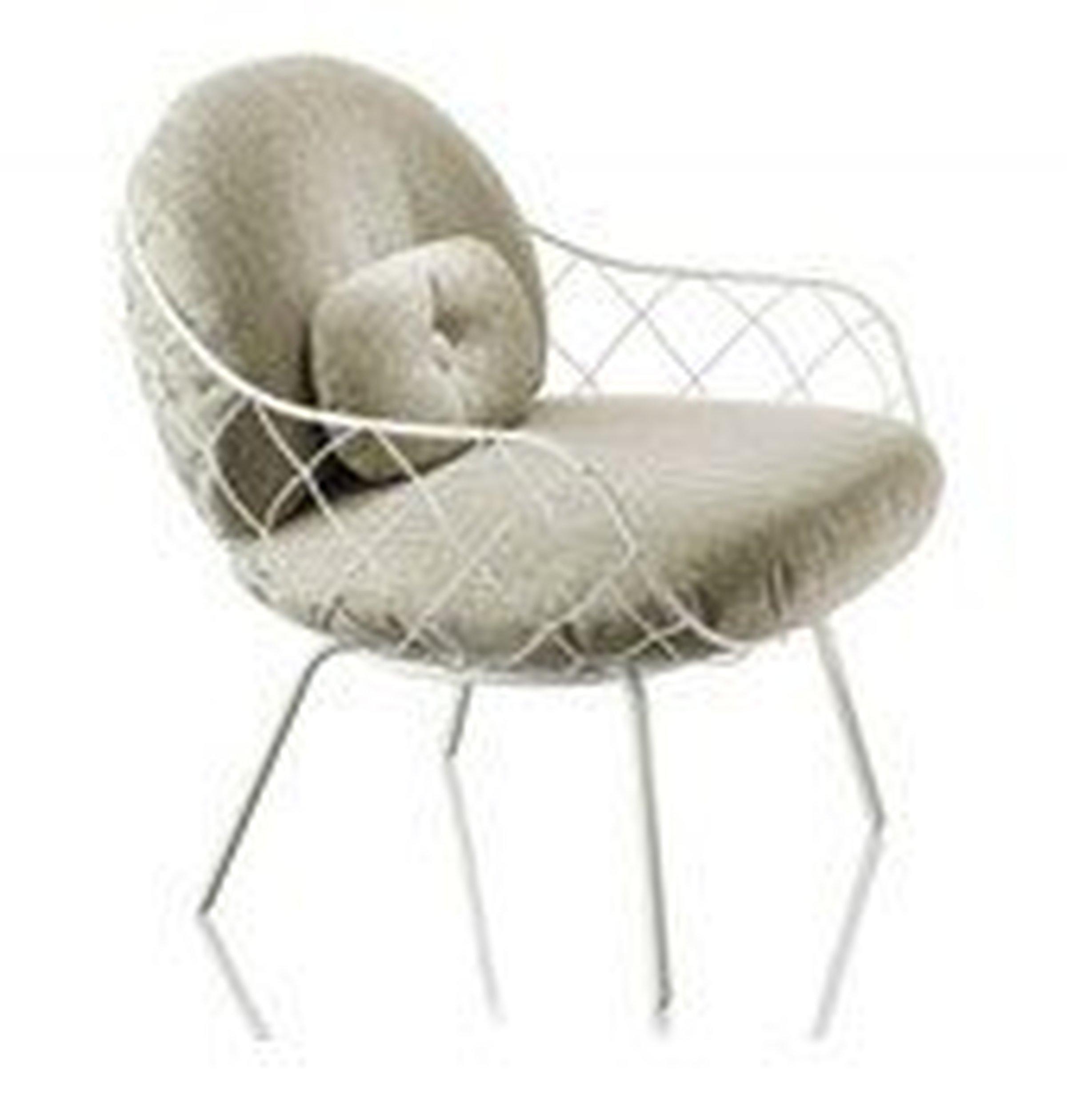 Fotel niski Pina biała rama i siedzisko, białe nogi - małe zdjęcie