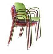 Krzesło Troy Polipropylen z podłokietnikami czerwone - małe zdjęcie