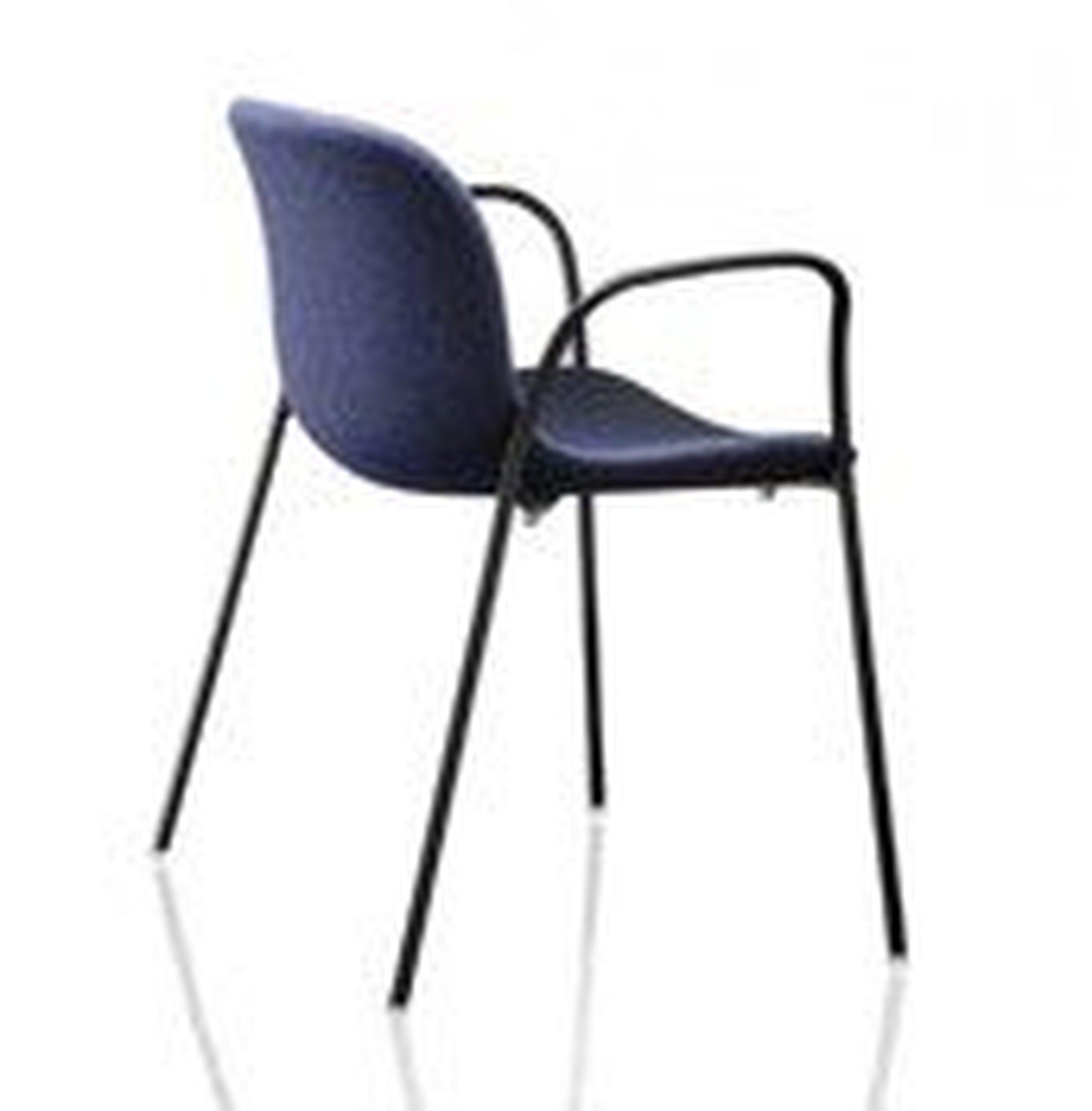 Krzesło Troy z podł. tapicerowane czarna rama niebieskie siedzisko - małe zdjęcie