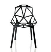 Krzesło Chair_One czarne z czarnymi anodyzowanymi nogami