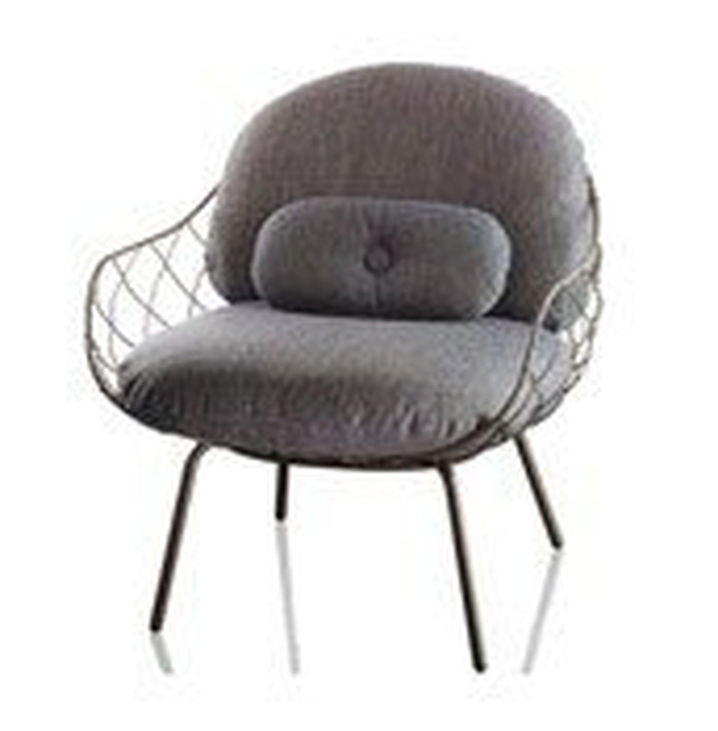 Fotel niski Pina szare rama i siedzisko, szare nogi - małe zdjęcie