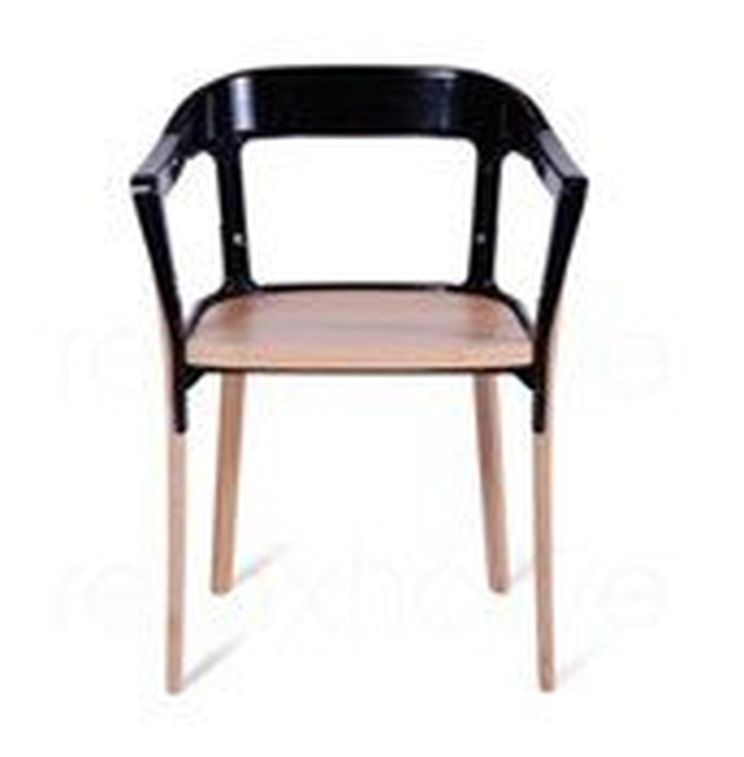Krzesło Steelwood nogi i siedzisko naturalny buk oparcie czarne - małe zdjęcie