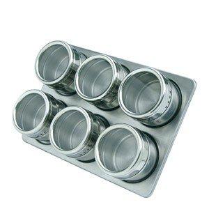 Pojemniki na przyprawy na stojaku magnetyczne Mastrad 6 szt.