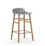 Stołek barowy Form 65 cm szary drewno dębowe - małe zdjęcie